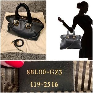 LARGE Fendi black smooth leather Chameleon satchel